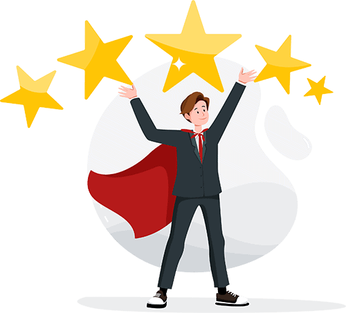 Businessman wearing a cape holding an outstanding 5-star reviews.