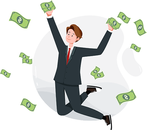 Businessman jumping from getting a lot of money.